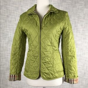 Rare Burberry lime green quilted jacket, size xs
